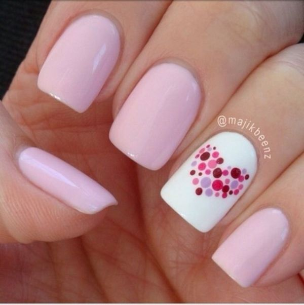 Blush pink nail art for Valentine's Day. Love this but I doubt that I could duplicate that heart