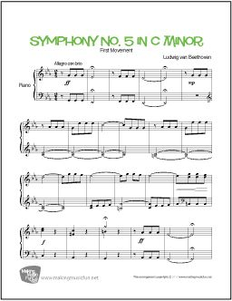 Symphony No. 5 in C Minor (Beethoven) - Easy Piano Sheet Music (Digital Print) - Visit MakingMusicFun.net for free sheet music, music theory worksheets, and composer resources.