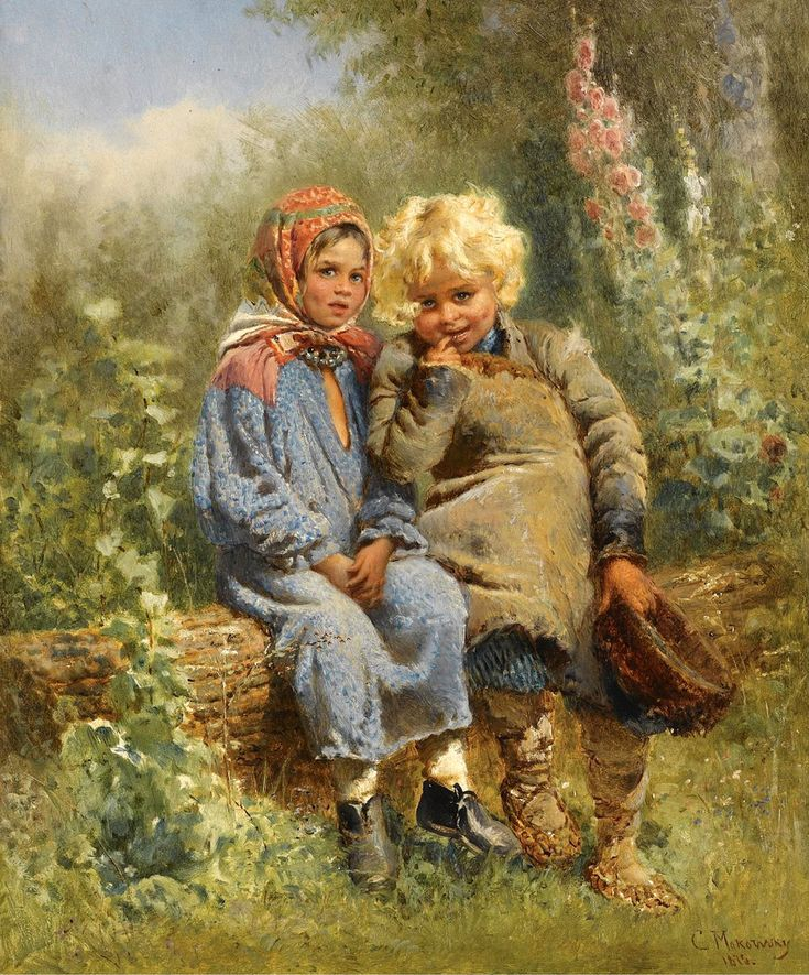"""Oil on panel;    46 x 37.5 cm.  Konstantin Yegorovich Makovsky was an influential Russian painter, affiliated with the """"Peredvizhniki (Wanderers)"""". Many of his historical paintings, such as The Russian Bride's Attire (1889), showed an idealized view of Russian life of prior centuries. He is often considered a representative of a Salon art.  Konstantin was born in Moscow as the older son of a Russian art figure and amateur painter, Yegor Ivanovich Makovsky. His mother was a music composer…"""