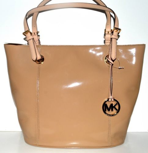 Michael Kors Nude Beige Patent Leather Lg Large Jet Set