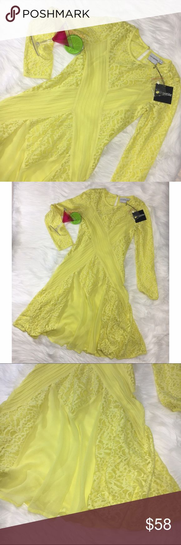 NWT ASOS Sheer Lace Beautiful Yellow Dress Boho • NWT ASOS Petite • Fit And Flare • Sz 1  • Comes with extra button • Beautiful lace detail on Arms and Throughout • Comes with an Attached Slip that can be removed by unbuttoning it • 100% Polyester Lining  • Trim 51% Nylon  • 49% Cotton ASOS Petite Dresses Long Sleeve