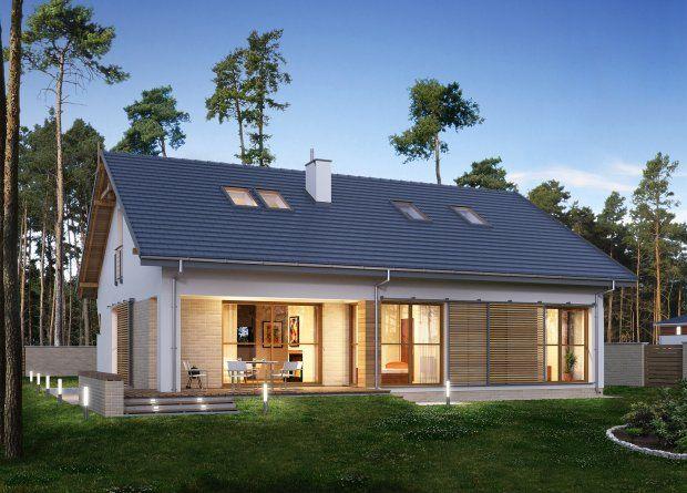 Projekt domu E-173: dom parterowy z dwuspadowym dachem