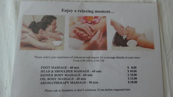 Claremont Angkor Boutique Hotel - Massage In Your Room Menu