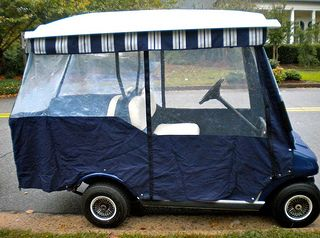 A custom Golf Cart Enclosure gives a more stylish look.  Just roll up the sides when not in use. No need to remove it during warmer months.