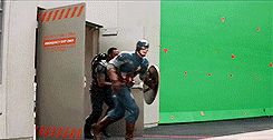 Captain America: the Winter Soldier bloopers. Cap and Falcon realize they're going the wrong way at the same time.