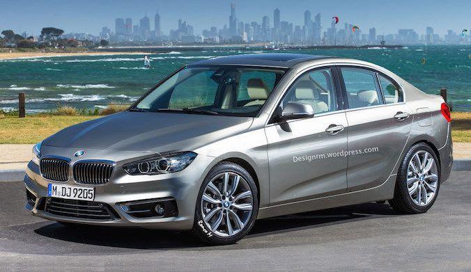 Proposition et photos volées de la BMW Série 1 Berline 2016 qui devrait concurrencer les Mercedes CLA et Audi A3 Berline.