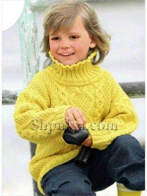 Желтый узорчатый пуловер для девочки, вязаный спицами