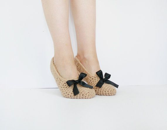 Crochet House Slippers In Beige And Black Ribbon, Wool Leg Warmers for Women, Winter Accessories, Bridesmaid Slippers