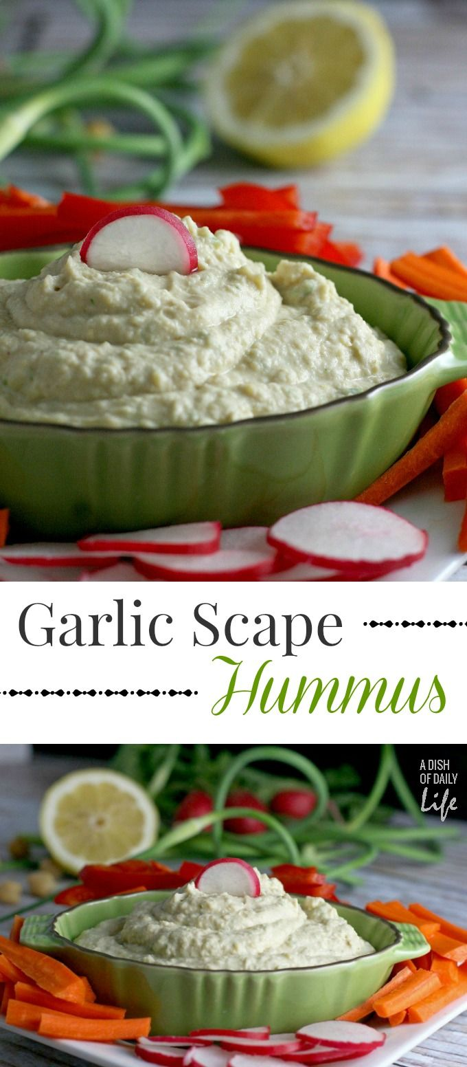 Homemade Hummus with Garlic Scapes, a healthy snack dip and appetizer recipe the whole family will love! Vegetarian, vegan and gluten free