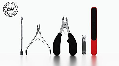 Stainless Steel Toenail Clipper for thick ingrown nails, Cuticle Nipper Scissor, Dead Skin Dirt Pusher, File, Fingernail Cutter Premium Nail Grooming Kit By Opulent Way #Stainless #Steel #Toenail #Clipper #thick #ingrown #nails, #Cuticle #Nipper #Scissor, #Dead #Skin #Dirt #Pusher, #File, #Fingernail #Cutter #Premium #Nail #Grooming #Opulent
