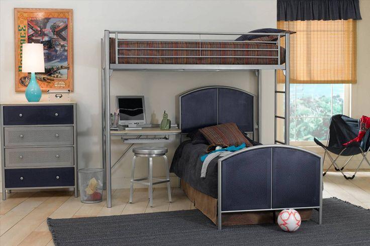 Hillsdale 1178DBTDM Universal Study Loft - Twin, Twin Bed, Rails, Dresser, and Mirror