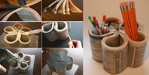 Manualidades para oficina con material reciclado buscar - Manualidades con cosas de casa ...