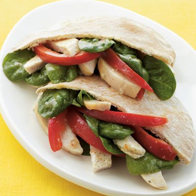 Chicken Pita Sandwich    Tangy and light, this simple lunch offers all the nutrition you need. Spinach adds vitamin A and folate, while the whole-grain pita provides more than 20% of your daily fiber.    Ingredients: Baby spinach, boneless, skinless chicken, red bell pepper, low-fat Italian vinaigrette, whole-grain pita    Calories: 400