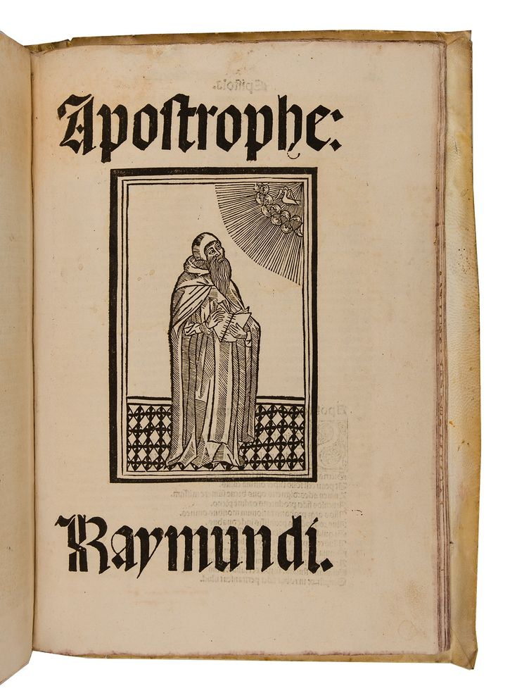 Second edition of this celebrated medieval encyclopaedic treatise, the first with illustrations. With: Apostrophe: Raymundi, Barcelona: Pedro Posa, 14 August 1504. First edition.