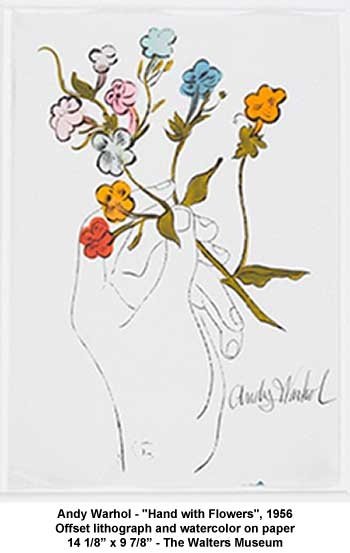 "Andy Warhol - ""Hand with Flowers"", 1956 Offset lithograph and watercolor on paper 14 1/8"" x 9 7/8"" - The Walters Museum"