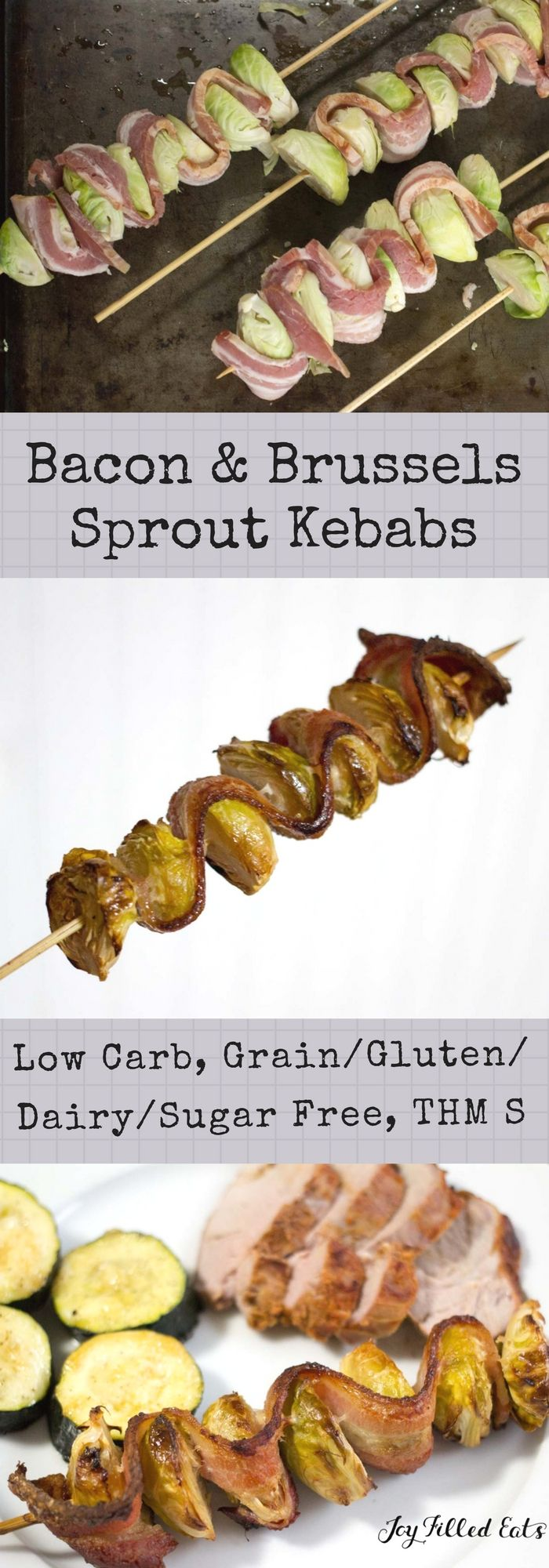 Bacon & Brussels Sprout Kebabs - Low Carb, Grain Gluten Sugar Free, THM S - Could a two ingredient recipe ever be more delicious? I doubt it. These Bacon & Brussels Sprout Kebabs were a hit with my entire family. via @joyfilledeats