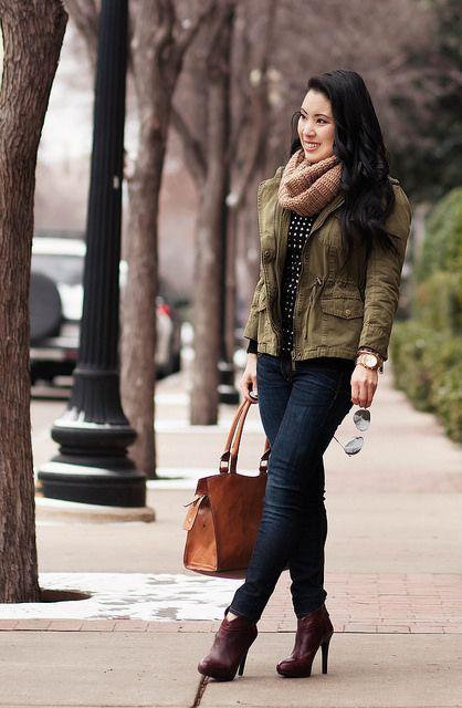 cute & little blog | fall winter layering outfit | tan cowl scarf, utility jacket, black gold studded sweater, rag bone skinny jeans, ankle boots, ray ban mirrored aviator sunglasses