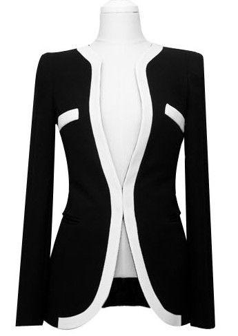Black Long Sleeve Shoulder Pads Contrast Trims Suit