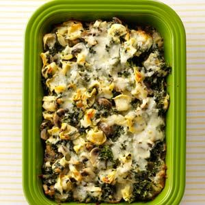 Tortellini Spinach Casserole.  This is a delicious, hearty dish!  I used spinach and cheese tortellini rather than plain, added more garlic and onion powder than it calls for and only used one package of spinach.