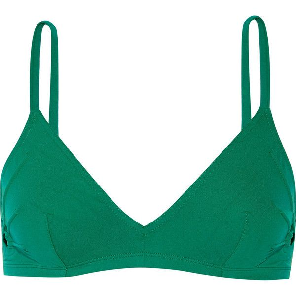 Eres Solaire Andorra triangle bikini top ($300) ❤ liked on Polyvore featuring swimwear, bikinis, bikini tops, green, triangle swim top, cutout bikini top, triangle bikini, swim suit tops and bikini swimwear
