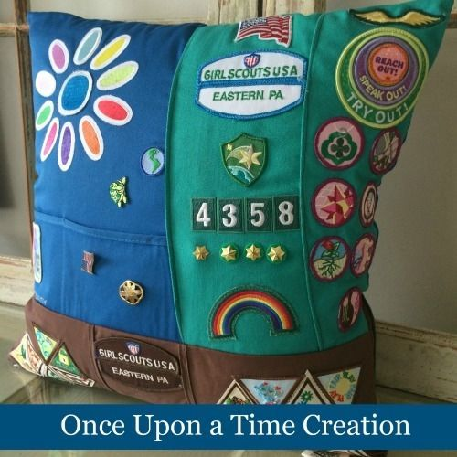 Girl Scout Pillow made from your vests and sashes.