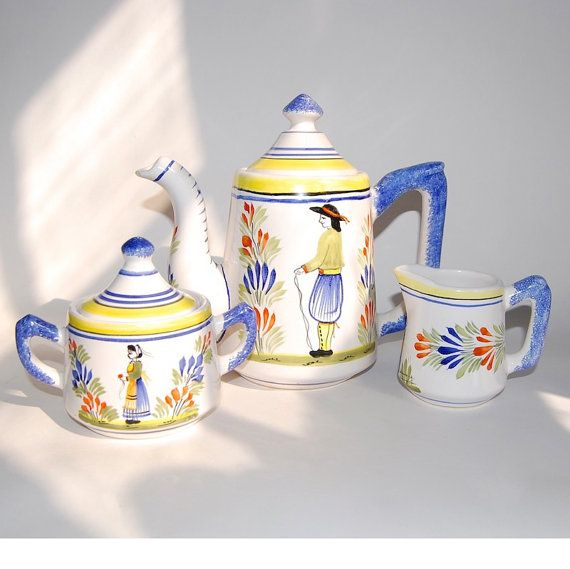 HB Henriot Quimper Tea Set Vintage French Folk Art Faience Pottery Housewares Collectibles Cottage Chic Rustic Tea Service c1960s