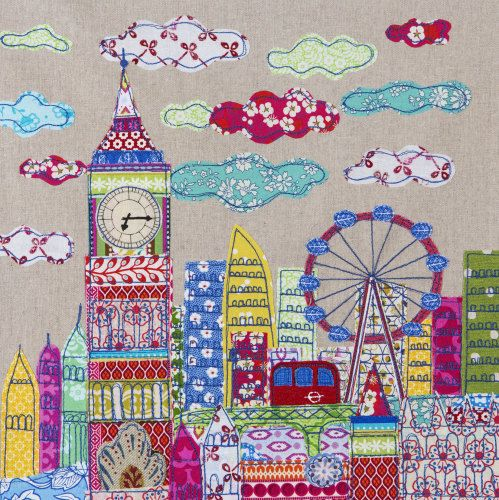 London greetings card embroidery fabric pictures and