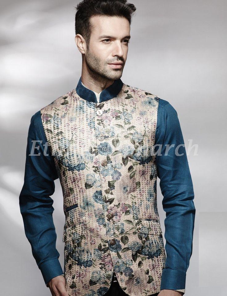 Glamorous Printed Jacket Indian Men Fashion Men Ethnic