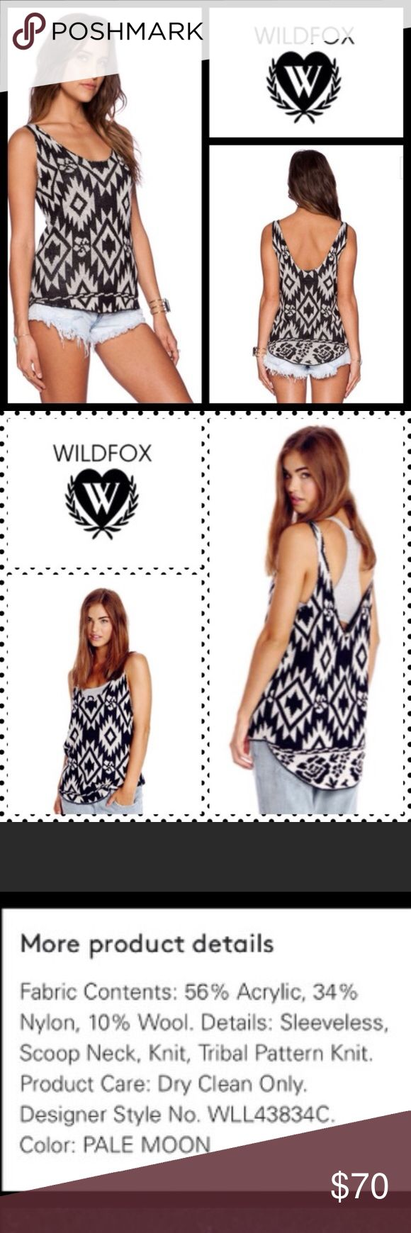 Wildfox white label tank White label black and white tribal print sweater tank top *MOVING I have to get rid of all of this stuff. Feel free to submit offers and bundle for discounts!* Wildfox Tops Tank Tops