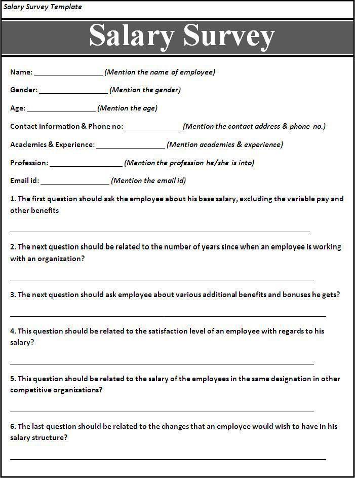 Salary Survey Template Survey Template Questionnaire Template