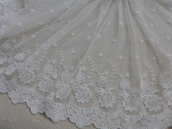 White Lace Fabric Trim Floral Tulle Lace Fabric by lacelindsay