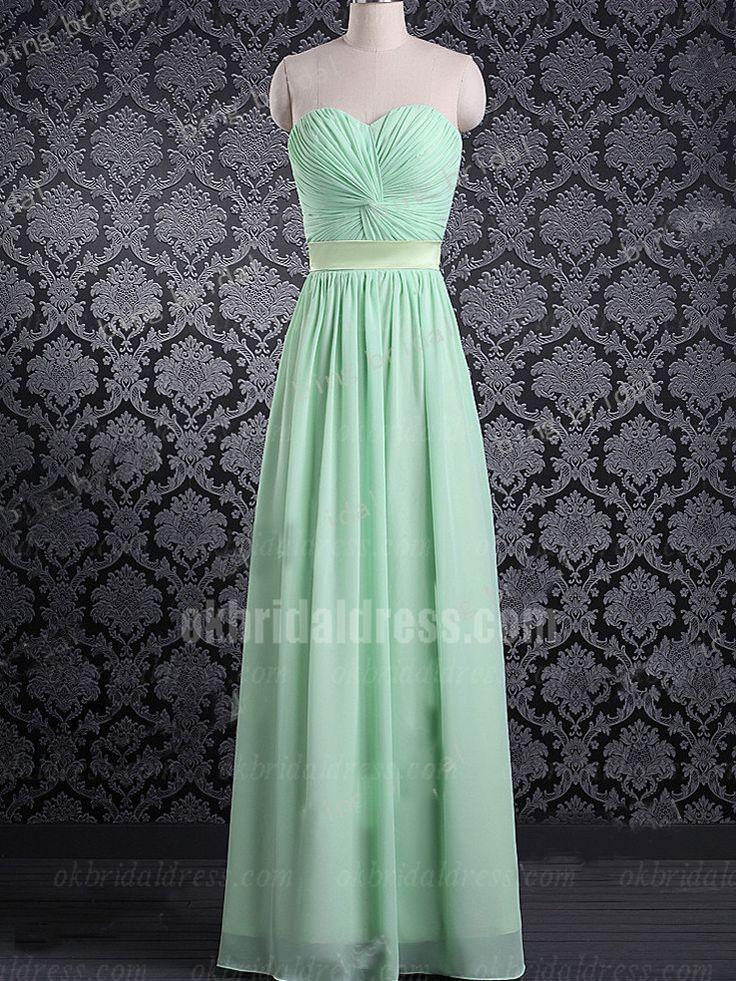cheap long plus size green sleeveless bridesmaid dress | Cheap prom dresses Sale