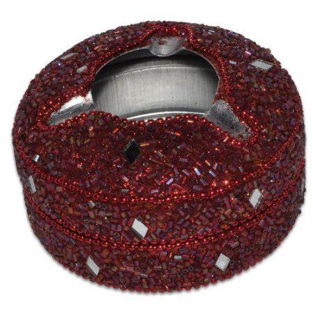 Red Aluminium Beaded Ashtray from India