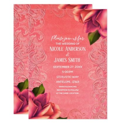 Salmon Pink Vintage Antique Rose Elegant Wedding Card - fancy gifts cool gift ideas unique special diy customize