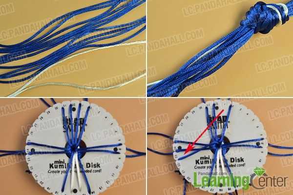 make the first part of the blue kumihimo friendship bracelet