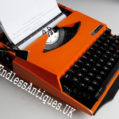 Beautifully designed 1970's Smith Corona portable in orange. I love the futuristic curves and the portability of this typewriter! For sale at www.endlessantiques.UK! #endlessantiques #typewriter #typewriters #vintagedecor #vintage #retro #rare #orange #collectable #vintagesale #vintagetypwriter #london #uk