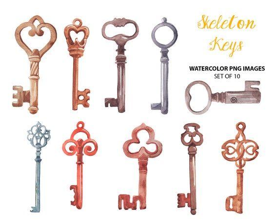 Skeleton Keys Clip Art Watercolor Antique Clipart Old Key Etsy Old Key Clip Art Skeleton Key