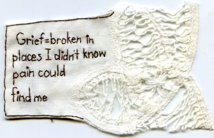 Grief. 2013. Embroidery on fabric. 2.75 x 3.75. Text by @EmbroideryPoems
