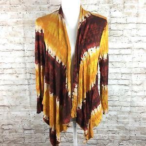 Carmen Marc Valvo tie dye open front cardigan lightweight sz L orange red womens    eBay