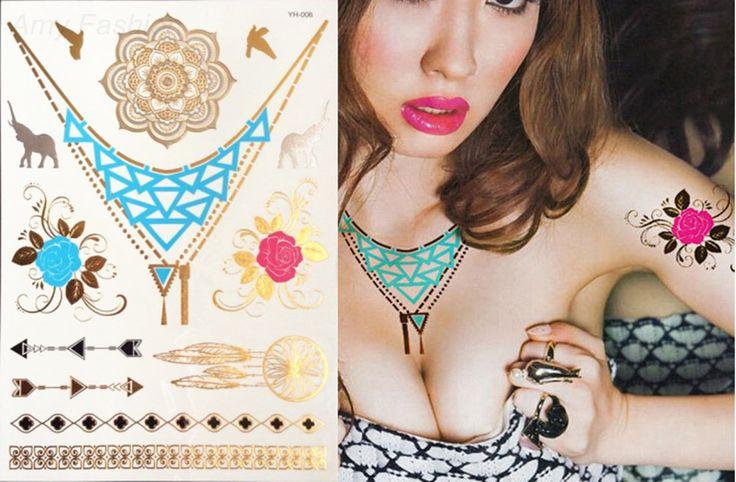 Золото DIY Грудь Цветы Большой Татуировки Наклейки Красочные Вспышки Водонепроницаемый Татуировки Боди-Арт Ожерелье Браслет Золото Временные Татуировки