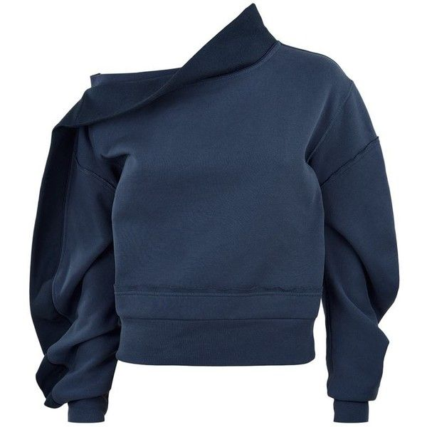 Burberry Runway Asymmetric Off-The-Shoulder Sweatshirt (€585) ❤ liked on Polyvore featuring tops, hoodies, sweatshirts, off-the-shoulder sweatshirts, blue top, off shoulder tops, off the shoulder sweatshirt and denim off shoulder top