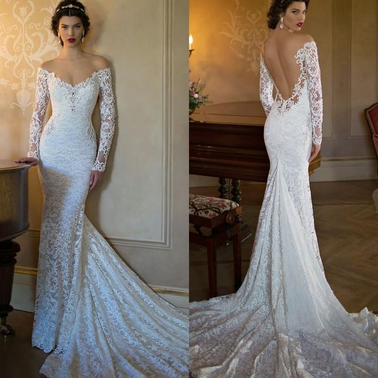 Cheap Spring Summer Mermaid Wedding Dresses High Neck Long Sleeves Sheer Lace Backless Bridal Gowns Under 100