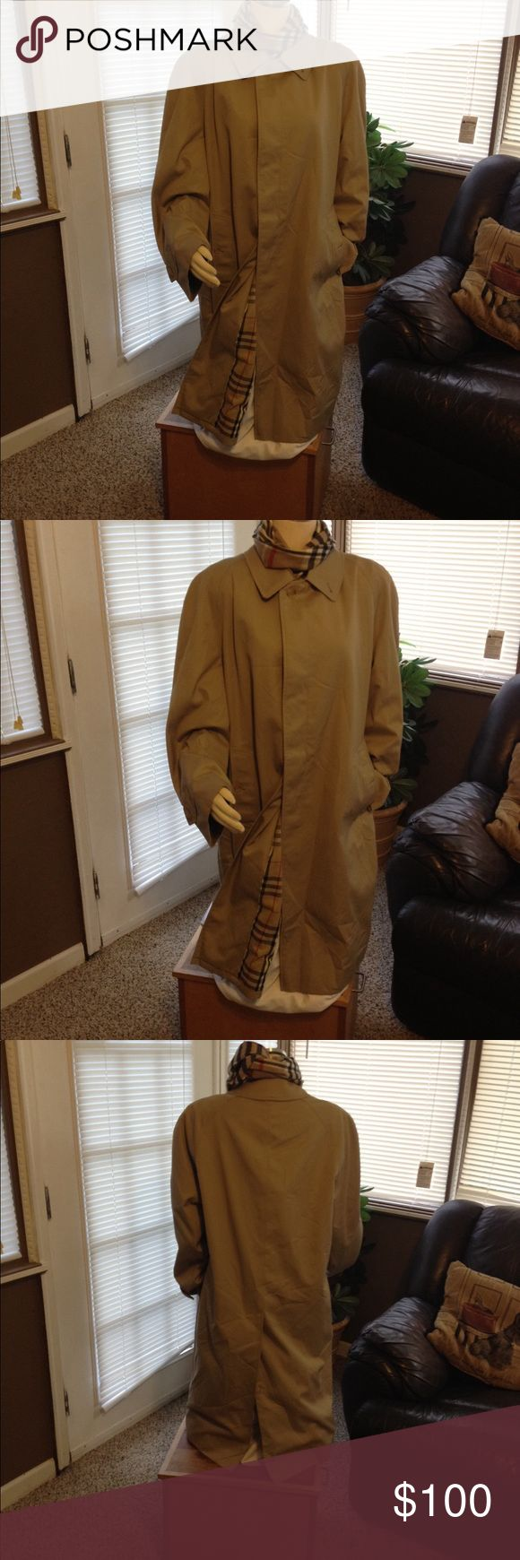 Beautiful Vintage Burberry Trench Grab this beauty  just in time for fall! Beautiful authentic Burberry trench. No tears, holes, or stains. Excellent clean condition. Interior features classic nova check pattern. This style was not made with a belt. Has size tag in left pocket, shown in pic. Size tag says 52 short, or 18 , 2XL . Make me an offer! Burberry Jackets & Coats Trench Coats