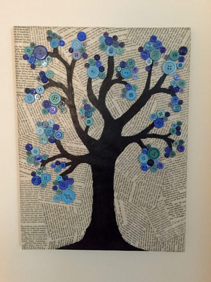 Button Tree Canvas di CrazyAboutCanvases su Etsy