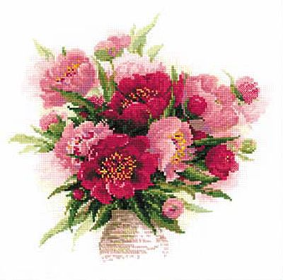 Peonies in a Vase Cross Stitch Kit By Riolis