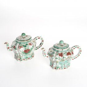 Pair Chinese Transitional Ming Porcelain Teapots
