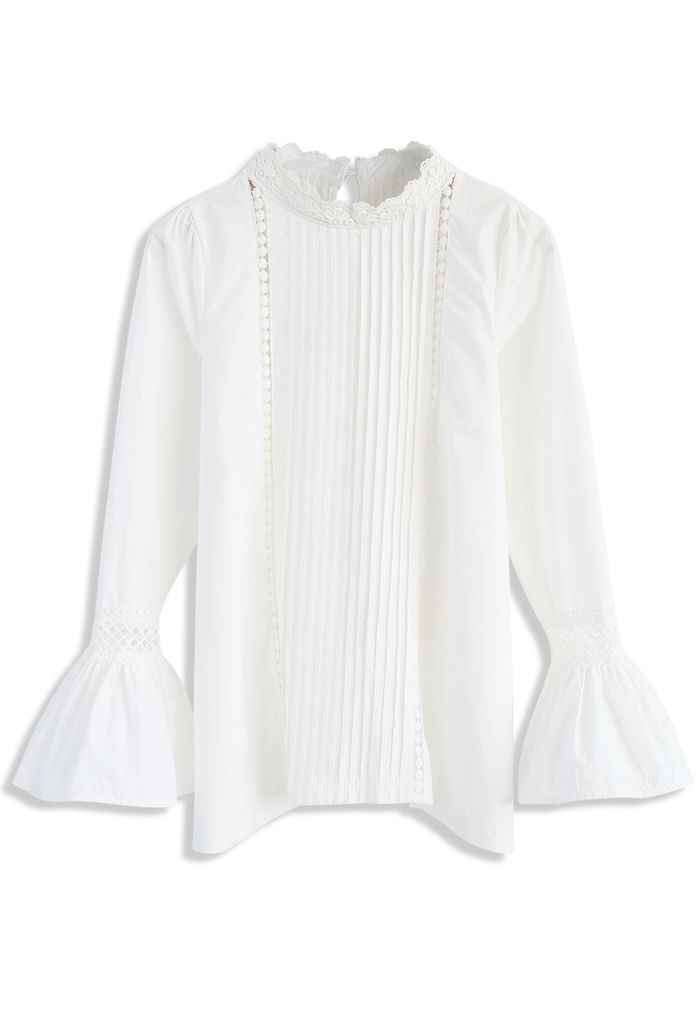 Ever Charming White Smock Top with Bell Sleeves - New Arrivals - Retro, Indie and Unique Fashion