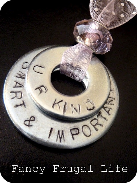 washer necklaceIdeas, Hands Stamps, Diy Stamps, Names Tags, Washer Jewelry, Metals Stamps, Washer Necklaces, Stamps Washer, Crafts