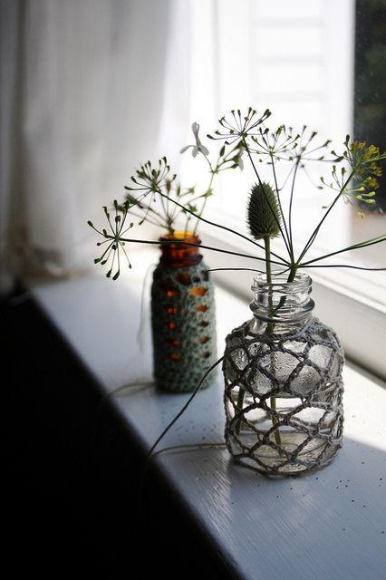 crochet around old glass jars