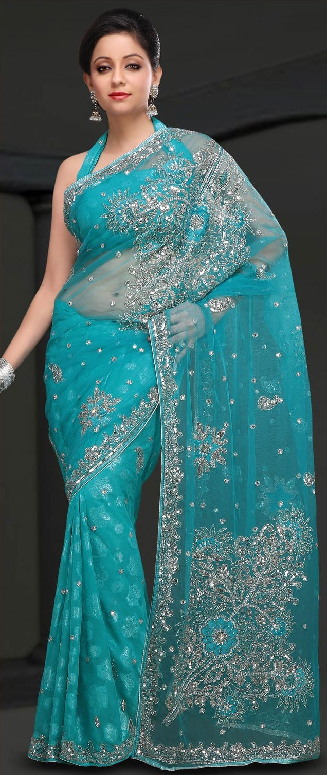 Aqua #Blue Net and Brasso #Saree With Blouse @ $116.11 | Shop @ http://www.utsavfashion.com/store/sarees-large.aspx?icode=smu1008b
